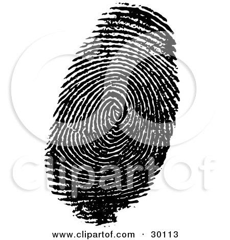 Clipart Illustration of a Human Fingerprint In Ink by KJ Pargeter