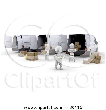 Clipart Illustration of White Characters Loading Boxes Into Shipment Delivery Vans, A Supervisor Taking Notes by KJ Pargeter