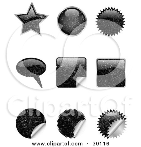 Clipart Illustration of a Set Of Nine Black Scratched Star, Circle, Bursts, Peeling Stickers And Word Balloons by KJ Pargeter