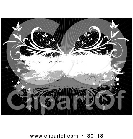 Clipart Illustration of a Gray And White Grunge Text Box Bordered With Stars And Vines Over A Black Background With Rays Of Light by KJ Pargeter