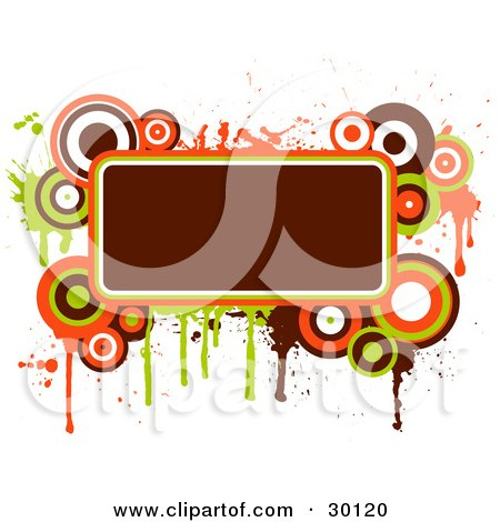 Clipart Illustration of a Deep Brownish Red Text Box Bordered In Green, Orange And Brown Circles And Splatters by KJ Pargeter