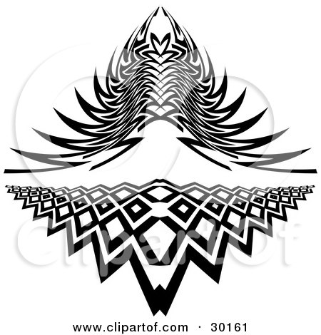 Clipart Illustration of a Set Of Two Intricate Tattoo Designs by KJ Pargeter