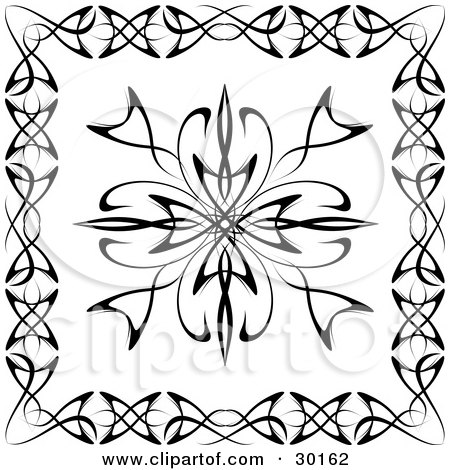 Clipart Illustration of a Black And White Tattoo Design Bordered With Other Designs by KJ Pargeter
