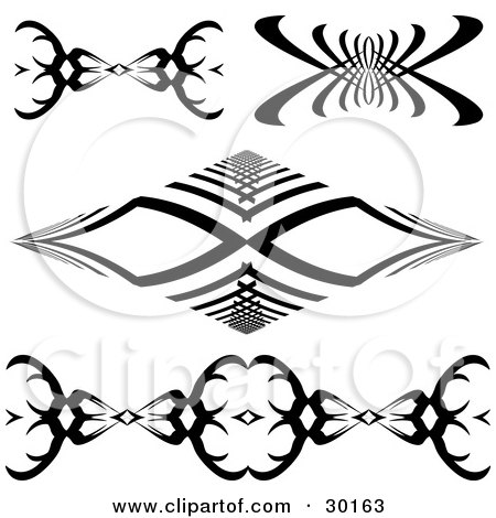 Clipart Illustration of a Set Of Four Black And White Tattoo Designs by KJ Pargeter