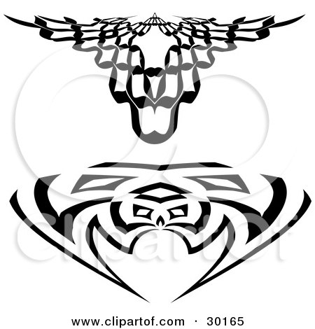 Clipart Illustration of a Set Of Two Black And White Tattoo Designs by KJ Pargeter