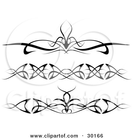 Clipart Illustration of a Set Of Three Elegant Tattoo Designs For Around The Arms, Ankles Or Lower Back by KJ Pargeter