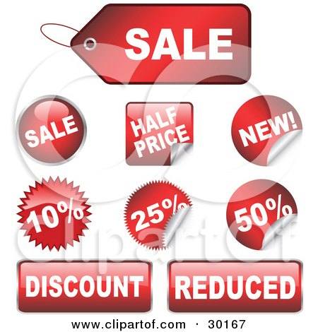 Clipart Illustration of a Set Of 9 Red Sale, Half Price, New, Discount And Reduced Retail Tags, Buttons And Stickers by KJ Pargeter