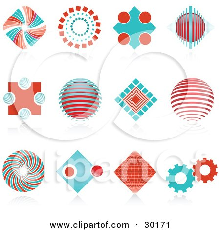 Clipart Illustration of a Set Of 12 Red And Blue Spiral, Diamond, Globe And Gear Logo Icons Over Reflective Surfaces by KJ Pargeter
