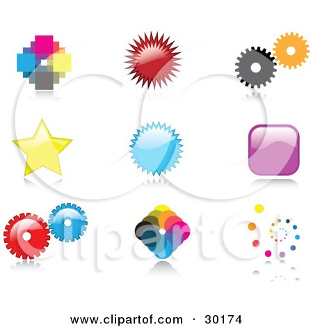 Clipart Illustration of a Set Of Nine Colorful Pixelated, Burst, Cogs, Stars, Squares And Spiral Logo Icon Designs With Reflective Shadows by KJ Pargeter
