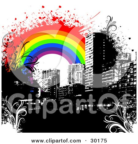 Clipart Illustration of a Black City Skyline With Floral Grunge And A Colorful Rainbow by KJ Pargeter