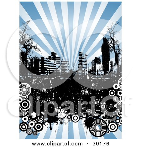 Clipart Illustration of a Black And White Urban Skyline With Bare Trees, Grunge And Circles Over A Background Of Rays Of Blue Light by KJ Pargeter
