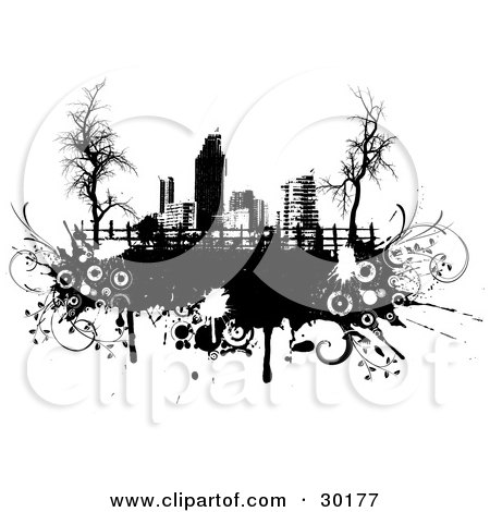 Clipart Illustration of a Pasture And Fence With Bare Trees Against A Black And White City Skyline On Black Grunge With Circles And Splatters by KJ Pargeter