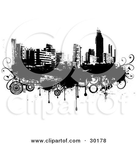 Clipart Illustration of a Black And White City Skyline On Grunge With Drips And Circles by KJ Pargeter
