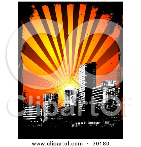 Clipart Illustration of a Sun Shining Over A Black And White City Skyline, Bordered By Black Grunge by KJ Pargeter