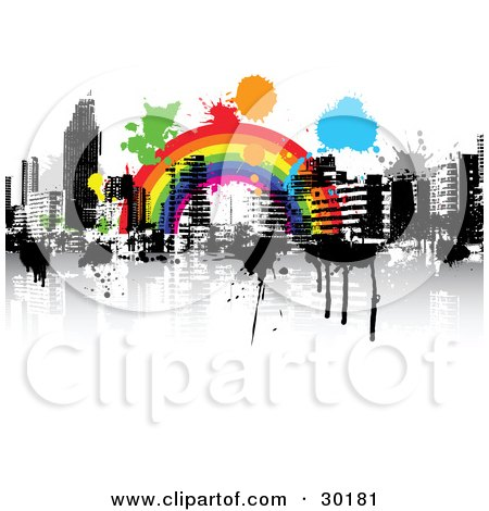 picture of colorful splatters over a rainbow over a city skyline.