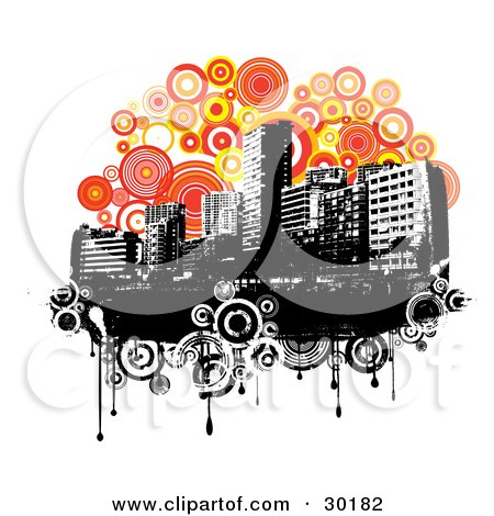 black and white urban backgrounds. Royalty-free architecture clipart picture of a black and white urban skyline