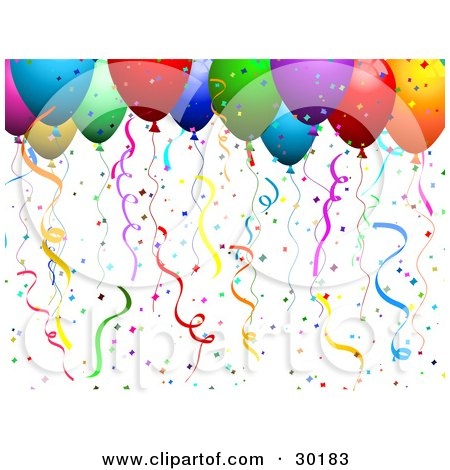 Clipart Illustration of Colorful Helium Filled Balloons With Confetti And Streamers At A Party by KJ Pargeter