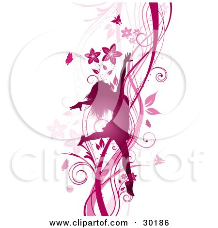 Clipart Illustration of a Silhouetted Pink Woman Prancing And Dancing On A Background Of Vines, Flowers And Butterflies by KJ Pargeter