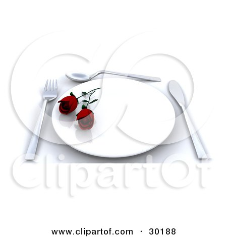 Clipart Illustration of a Place Setting With Two Red Roses On A Plate, A Fork, Spoon And Knife by KJ Pargeter