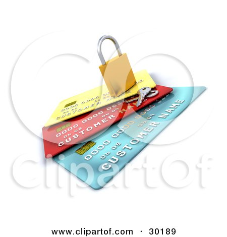 Clipart Illustration of Keys Resting Beside A Secured Padlock On Top Of Yellow, Red And Blue Credit Cards by KJ Pargeter