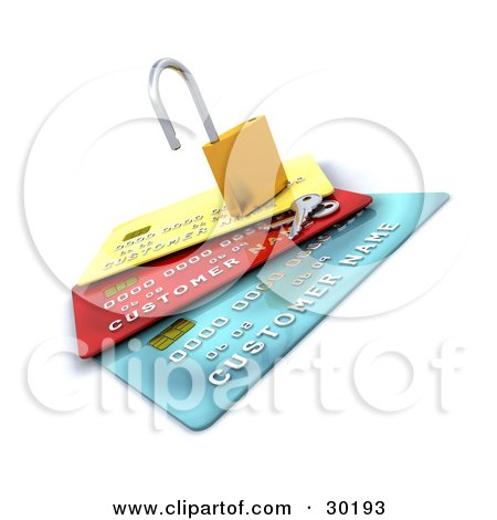 Clipart Illustration of Keys Resting Beside An Open Padlock On Top Of Yellow, Red And Blue Credit Cards by KJ Pargeter