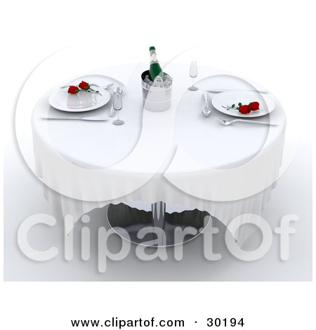 Clipart Illustration of Red Rosess On Dinner Plates, With Silverware And Champagne On Ice On A Table In A Fine Restaurant by KJ Pargeter