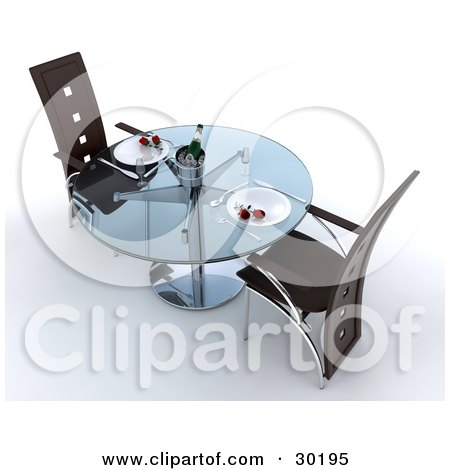 Clipart Illustration of a Modern Glass Table With Red Roses On The Plates And Champagne On Ice by KJ Pargeter