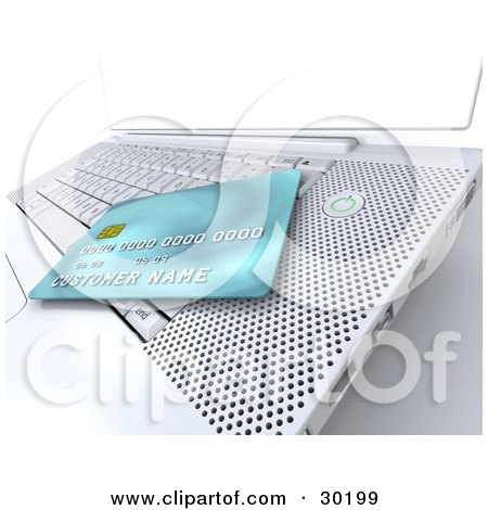 Clipart Illustration of a Blue Credit Card Resting On Top Of A White Laptop Keyboard by KJ Pargeter