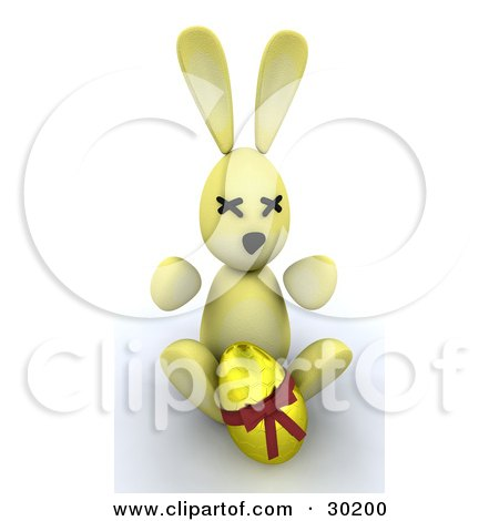 Clipart Illustration of a Yellow Bunny Rabbit Sitting With A Gold Easter Egg by KJ Pargeter