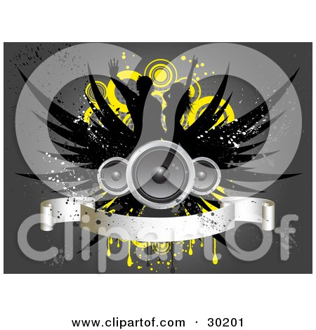 Clipart Illustration of Three Speakers With Black Wings Over Silhouetted Dancers, Yellow Circles And Grunge, With A Blank Banner, On A Gray Background by KJ Pargeter
