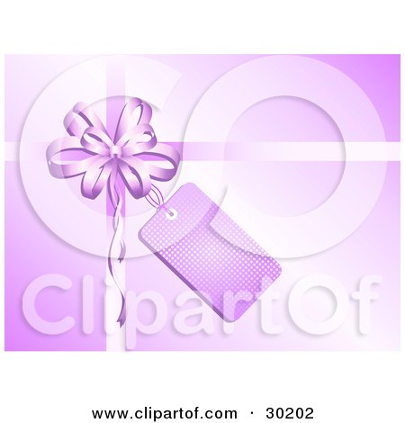 Clipart Illustration of a Purple Bow And Ribbons With A Blank Tag On A Gift by KJ Pargeter