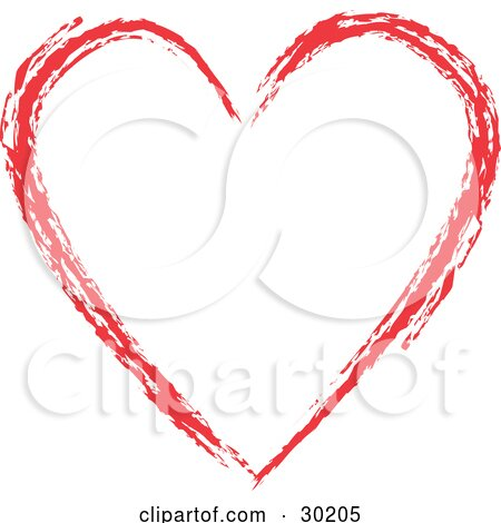 Clipart Illustration of a Red Painted Heart Outline, Over White by KJ Pargeter