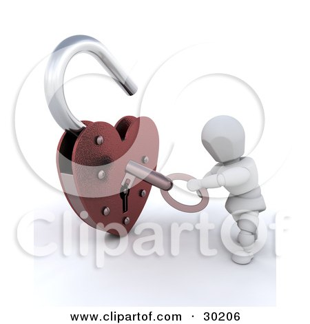 Royalty-free 3d love clipart picture of a white character unlocking a heart