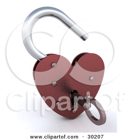 Key Inside An Unlocked Red Heart Shaped Padlock Posters, Art Prints