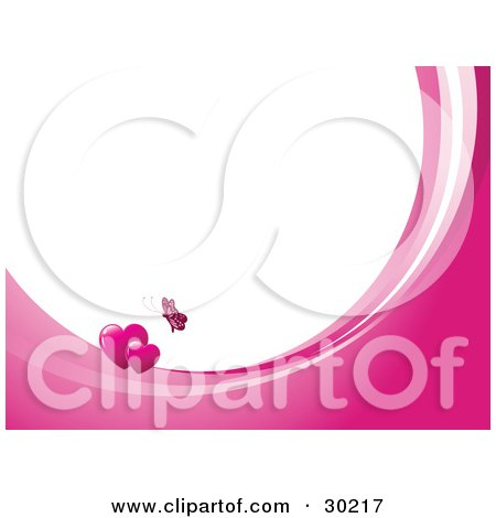 Pink Butterfly Above Two Hearts On Waves Of Pink And White, Around White With Space For Text Or A Business Name Posters, Art Prints