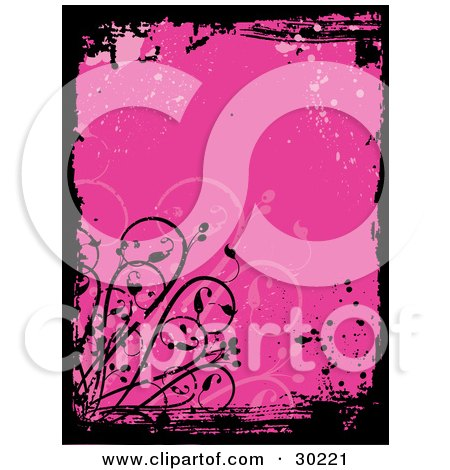 Clipart Illustration of a Pink Grunge Background With Splatters, Bordered By Grunge Marks And Vines by KJ Pargeter