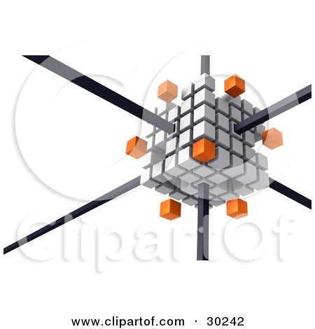 Clipart Illustration of a White Cube Consisting Of White And Orange Cubes, The Orange Ones Floating Away, Connected By Black Bars by Tonis Pan