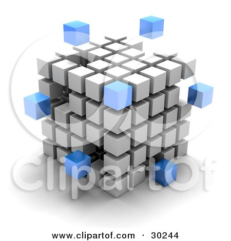 Clipart Illustration of Blue Cubes Floating Outside A Large Cube Created With White Cubes, Symbolizing Leadership And Individuality by Tonis Pan