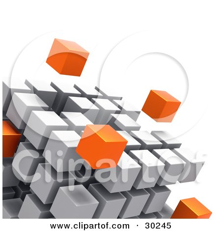 Clipart Illustration of Orange Cubes Floating Outside A Large Cube Created With White Cubes, Symbolizing Leadership And Individuality by Tonis Pan