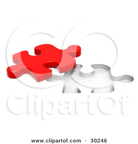 Clipart Illustration of a Lone Red Jigsaw Puzzle Piece Beside A Fitted Space by Tonis Pan