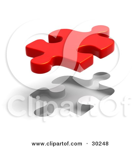 Clipart Illustration of a Single Red Puzzle Piece Floating Above A Fitted Space by Tonis Pan