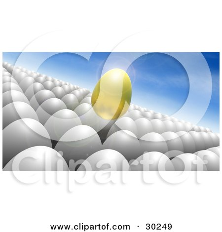 Clipart Illustration of a Floating Golden Egg Above A Crowd Of White Eggs, Against A Blue Sky by Tonis Pan
