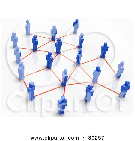 Clipart Illustration of a Network Of Blue People Standing, Connected By Orange Lines by Tonis Pan