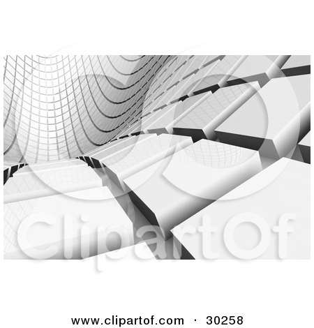 Clipart Illustration of a Curving Tunnel Of White Tiles Leading Off Into The Distance by Tonis Pan