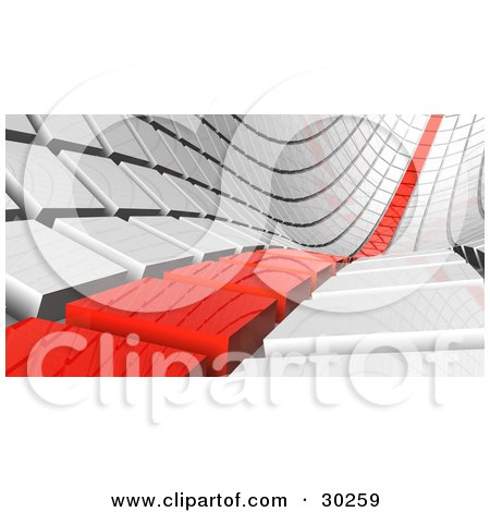 Clipart Illustration of a Row Of Red Tiles Leading Off Into The Distance Beside White Rows by Tonis Pan