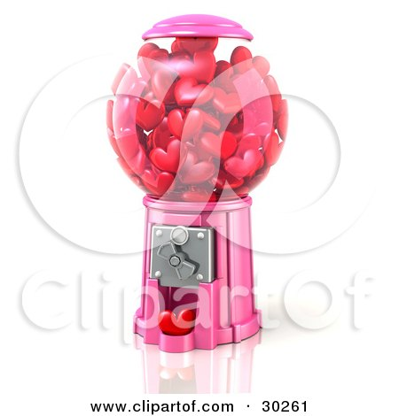 Clipart Illustration of a Pink Bubble Gum Machine Dispensing Little Red Hearts, Symbolizing Renewing Passion In A Relationship by Tonis Pan