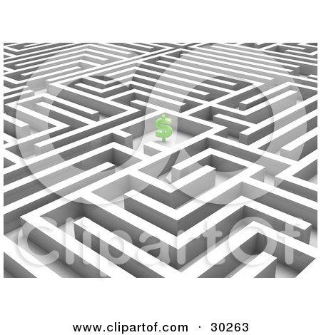 Clipart Illustration of a Green Dollar Symbol In The Center Of A White Maze, Symbolizing Incentives And Savings by Tonis Pan