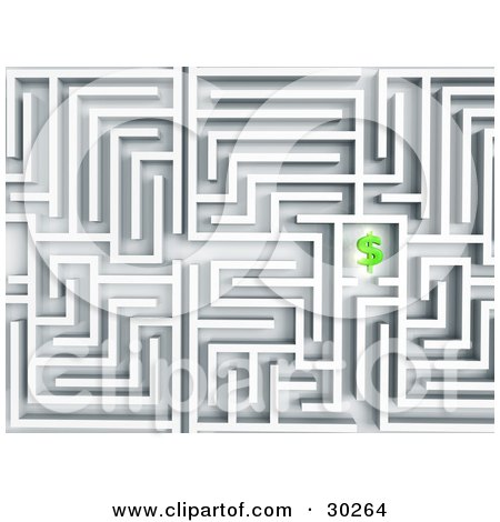 Clipart Illustration of a Complex White Labyrinth With A Green Dollar Symbol As The Motivation To Get To The End by Tonis Pan