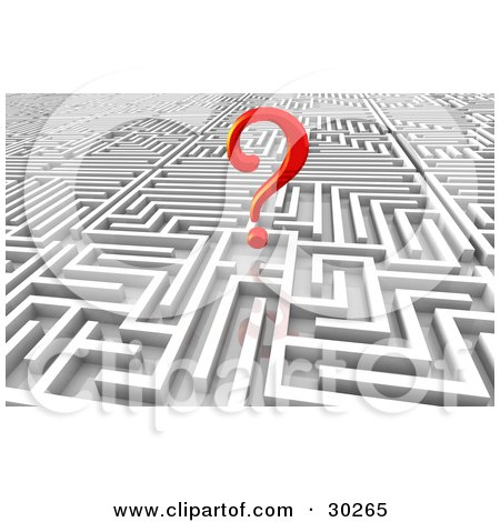 Clipart Illustration of a Red Question Mark At The End Of A Complex Maze Of Passages by Tonis Pan