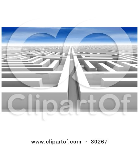 Clipart Illustration of a White Maze Of Paths, Never Ending And Leading Off Into The Distance, Under A Blue Sky by Tonis Pan